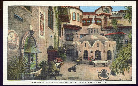 Vintage postcard of the Mission Inn Riverside, California.