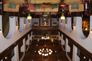 Upside down picture of the Andaluz Hotel lobby in Albuquerque, New Mexico.