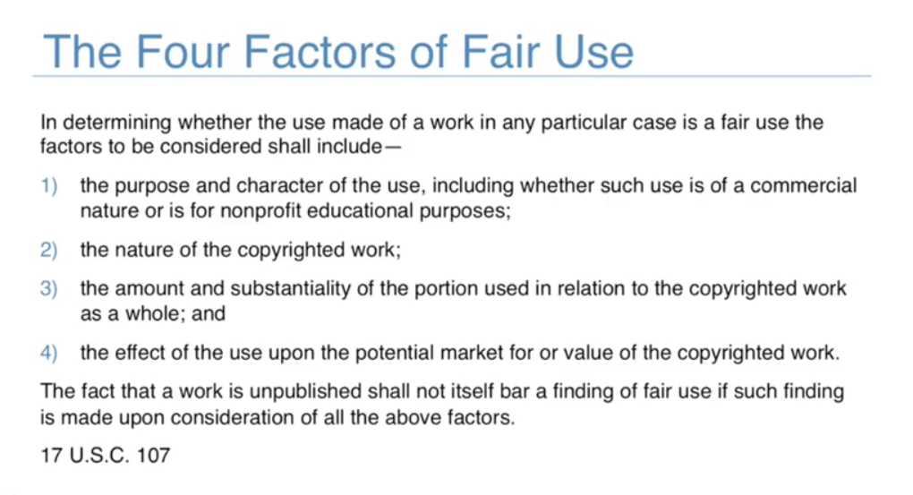 Four factors of Fair Use law in US.