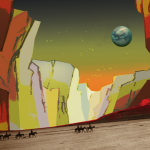 Seven Navajos on horseback and a dog trek on Mars