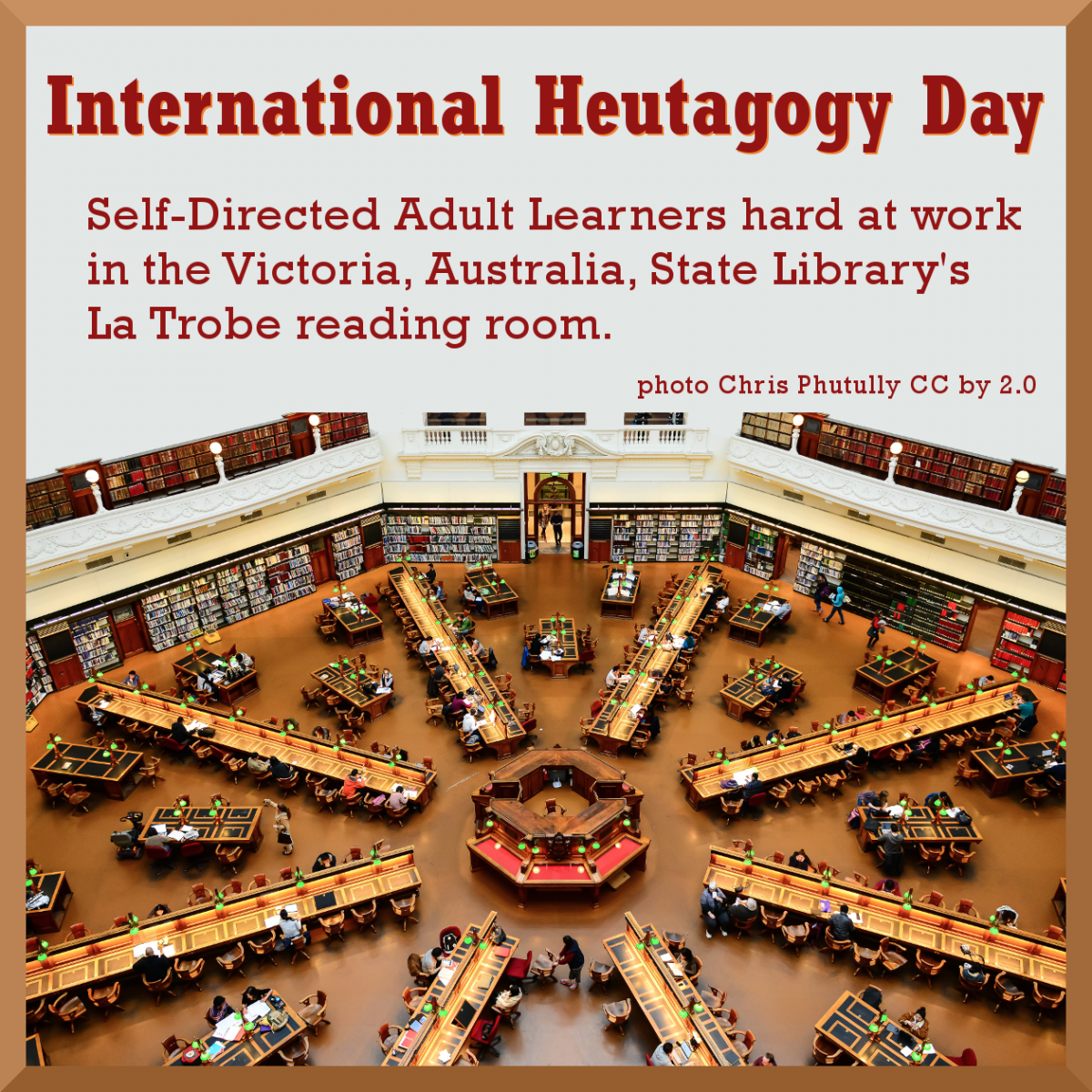 Self-Directed Adult Learners hard at work in Victoria, Australia, State Library's La Trobe reading room.